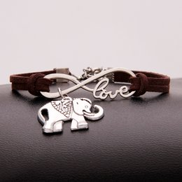 hot bijoux Australia - Wholesale Hot New Punk Fashion Infinity Love Elephant Charm Chain Bracelet For Women Men Dark Brown Leather Jewelry Cheap Bangle Bijoux Gift