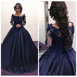 $enCountryForm.capitalKeyWord NZ - Elegant Dark Navy Dresses Evening Wear 2018 Appliques Long Sleeves Ball Gown Formal Special Occasion Party Prom Gown