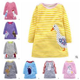 $enCountryForm.capitalKeyWord NZ - Girls Dresses Animal Print Baby Dresses Infant Striped Top T-shirt Toddler Long Sleeved Dress Kids Designer Clothes Baby Clothing YL442