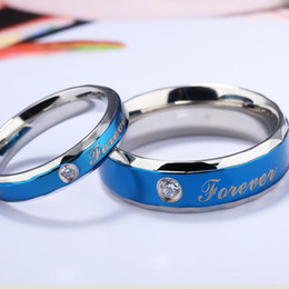 couple christmas gifts Australia - Forever Love Blue Titanium Steel Couple Rings Wholesale Diamond Shiny Ring For Men Women Valentine's Day Gift