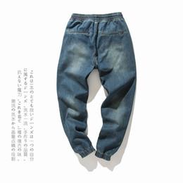 Wholesale plus size harem pants resale online – Denim Stretch Elastic Waist Jeans Men Blue Cargo Drawstring Harem Jeans Homme Cotton Plus Size Full Length Pants