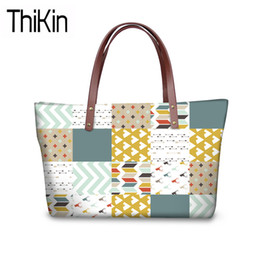 212ff72a4d1a THIKIN Women Triangles 3D Printing Handbags for Teenagers College Book Bag  Ladies Large Top-Handle Bags Females Fashion Tote Bag