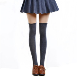 cc947198801 1 Pair 5 Solid Colors Fashion Sexy Warm Thigh High Over the Knee Socks Long  Cotton Stockings For Girls Ladies Women