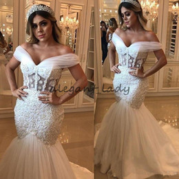 $enCountryForm.capitalKeyWord NZ - Off Shoulder Mermaid Wedding Dresses with Boning 2018 Modest Beaded 3D Floral Plus Size Fishtail Church Garden Castle Wedding Gown