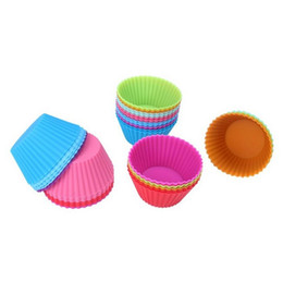 Discount silicone cup cake pan - 1 Set of 12 Pieces (1 dozen) Round Shaped Silicon Cake Baking Molds Jelly Mold Silicon Cupcake Pan Muffin Cup