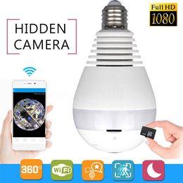 bulb camera remote 2019 - WIFI connection panoramic camera P2P bulb IP camera surveillance HD 1080P video recording LED lights camera wireless APP