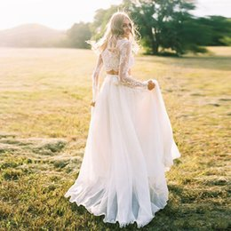 $enCountryForm.capitalKeyWord NZ - Long Sleeves Wedding Dress Lace Bride Dress Two-pieces Beach Informal Cheap Robe de mariee 2018