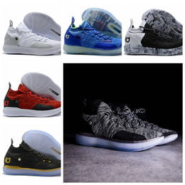 check out c2d5a 74590 2018 High Quality KD 11 Basketball Shoes Black Grey Persian Violet Chlorine  Blue Sneakers Kevin Durant 11s Designer Shoes Mens Trainers Shoe