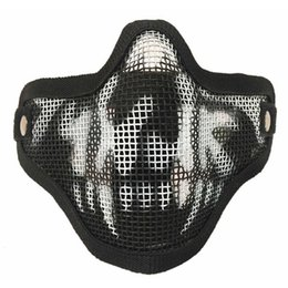$enCountryForm.capitalKeyWord Australia - Outdoor Tactical Mask Half Face Steel Wire Jungle Digital Men Desert Metal Mask Paintball Hunting Protective Riding