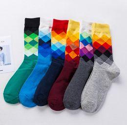 Happy Baseball Australia - High Quality Brand Happy socks British Style Plaid Socks Gradient Color Men's Fashion Personality Winter Cotton Socks Wholesale