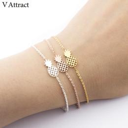 Delicate silver bracelets for women online shopping - V Attract Stainless Steel Bijoux Summer Fruit Jewelry Delicate Pineapple Bracelets Bangles For Women Best Friend Cuff Bileklik