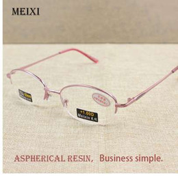 half frames reading glasses UK - Women's Half Alloy Frame Glass Lenses Reading Glasses Femal Eyewear +1.0 1.5 2.0 2.5 3.0 3.5 4.0
