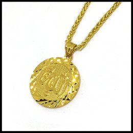 islam gold Canada - New Arrival Products Round Coin Islam Charm Necklace Shiny Gold Plated Tag Man Pendant Jewelry New 2018 Style
