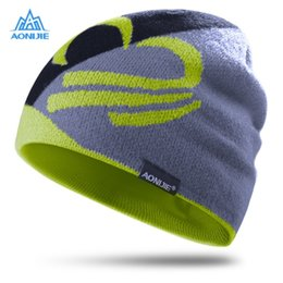 AONIJIE Зимние трикотажные шапки Unisex Outdoor Sport Cap Windproof Thicken Warm Running Cap Ski Hiking Running Knitting Hats 3 Color