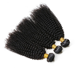 Human Hair Weave Bonding Australia - Afro Kinky Curly Human Hair Bundles Remy Hair Natural Black 3 Bundles With Full End No Tangle Hair Weaving
