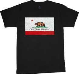 Tall Tee Men Canada - Big and tall shirts for men California flag decal tee shirt cali bear design