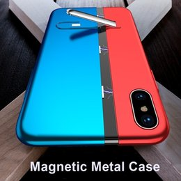$enCountryForm.capitalKeyWord NZ - Magnetic Case For iPhone XS Max XR Built-in Magent Hidden Bracket Metal Bumper Cover For iPhone X 6 8 7 Plus Flip Cover