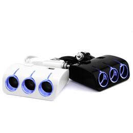 car power port splitter 2019 - 3 USB Ports Car Charger Cigarette Lighter Socket Splitter Power Adapter Dual USB Car Charger 12 24V discount car power p