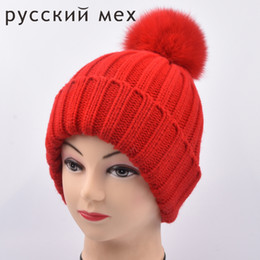 68c4acdb43e Mom and me Baby Kids Snow Hat Winter Wool Knit Beanie fox pom poms Hats For  Children Fashion Hat Christmas Gift