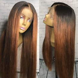 Best omBre human hair wigs online shopping - Silk Straight T B Ombre Hair Wig With Baby Hairs Best Brazilian Full Lace Wigs Middle Part Virgin Human Hair Lace Front Wigs