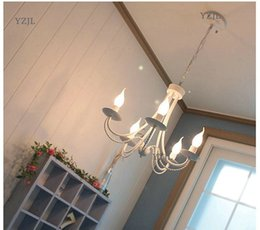 chandelier candles NZ - American iron lamp Mediterranean chandeliers Korean rural restaurant candle lamp chandelier simple modern children bedroom light