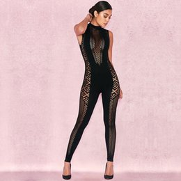 ecde389de83 2018 New Arrival Fashion Sleeveless Black Jumpsuit Summer Women Sexy Hollow  Out O Neck Celebrity Evening Party Bandage Jumpsuits