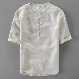 11d06c49a711 Italy brand summer shirt men casual fashion men shirts short sleeve pure linen  shirt mens solid Chinese style shirts male camisa