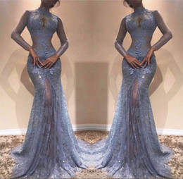 China Illusion See Through Lace Evening Gowns 2018 Mermaid High Neck Sheer Long Sleeves Appliques Long Party Prom Dress Pageant Vestidos cheap pageant dresses see lace suppliers