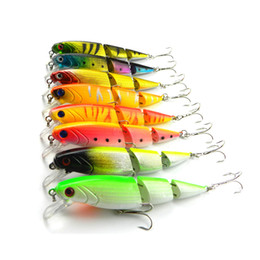 Discount soft lure bait section HENG JIA 10.5cm   4.1in Fishing Lures 8pcs lot Simulated Wobbers RGB 3 Sections Fishing Hard Baits Hook 3D eye lure for