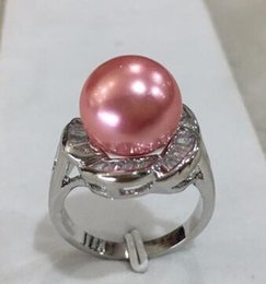 Shipping Free China Ring Pearl Australia - Free Shipping R005 New design lady's silver plated inlay crystal flower shape 12mm pink shell pearl ring SIZE 6 7 8 9 10