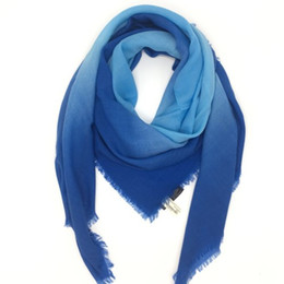 Chinese  brand design good quality silk cashmere material thin and soft blue color gradient square scarves for women size 130cm * 130cm manufacturers
