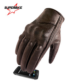 brown motorcycle gloves men NZ - Motorcycle Gloves Leather Goatskin Touch Screen Ready To Ship Men Cycling Brown Coffee Bike Scooter Skii Accessories Moto Motorbike E-Bike