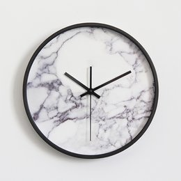 Vogue clocks online shopping - Marble Pattern Wall Clock Fashionable Vogue European Luxury Unique Round Silently Quartz Needle Wall Clock for Decor