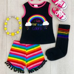 $enCountryForm.capitalKeyWord NZ - Baby Girl Clothes Toddler Rainbow Stripe Kids Set Tassels Short Clothing Vest Stripe Letter Tops Colorful Pants Outfit Set Summer Clothing