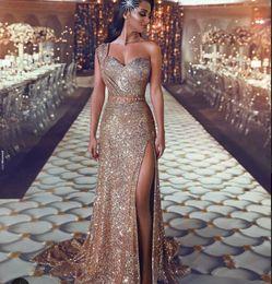817a2e8fae1f4 Evening Dress Long Dress Sleeveless One shoulder Gold sequines Side Split  Sashes Sweetheart Sheath Beautiful Modern 0020