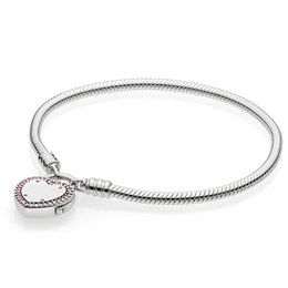 $enCountryForm.capitalKeyWord UK - Authentic 925 Sterling Silver Lock Your Promise Snake Chain Pan Bracelet Bangle Fit Women Bead Charm Diy Europe Jewelry