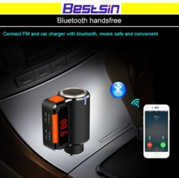 bluetooth car kits for iphone 2018 - Bestsin Car Charger Bluetooth Car Kits MP3 Player Dual USB Port Car Chargers Handsfree Phone Calling FM Transmitters BC0