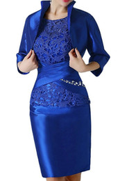 China Royal Blue Lace Short Mother Formal Wear With Wrap Mother of groom Wedding Guest Dress Evening Mother Of The Bride Dress Suit Gowns cheap modern groom suits blue suppliers
