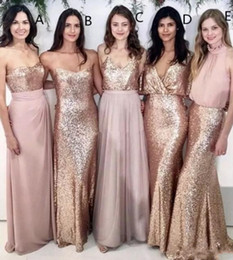 $enCountryForm.capitalKeyWord Australia - Blush Pink Beach Wedding Bridesmaid Dresses with Rose Gold Sequins Mismatched Maid of Honor Gowns 5 Styles Women Party Formal Wear 2018