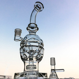Discount cheese bong Double Layer Glass Water Pipe Showerhead Perc Straight to Bottom Fantastic Bubble Glass Bong Faberge Egg Recycler Oil Ri