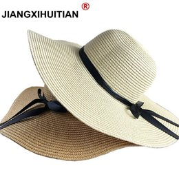 $enCountryForm.capitalKeyWord Australia - Summer Hats For Women Chapeau Femme Sun Hat Beach Panama Straw Hat Large Wide Brim Black Ribbon Bow Visor Bone Female Cap