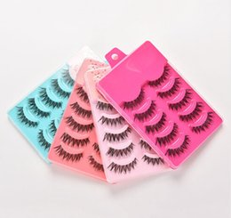 Discount full hair set - Wholesale-HOT 5pairs False Strip Lashes Beauty Essentials False Eyelashes Set Hand Made Crisscross Eye Lash Extension To