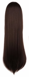 Long Wave Costumes Hair UK - wig QQXCAIW Long Straight Cosplay Party Women Men Costume Dark Brown 80 Cm Synthetic Hair Wigs