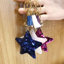 kids toy car keys 2019 - 2018 Fashion 1 PC Star Keychain Bag Decor Sequins Glitter Tassel Car Pendant Women Bag Key Ring Jewelry Party Gift Kid T