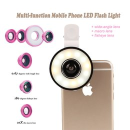 Wholesale 6 in1 Multi Phone Lens Selfie Ring Flash Light with Fisheye Macro Wide Angle Camera Fish eye Lens for iPhone plus XIAOmi Q0551
