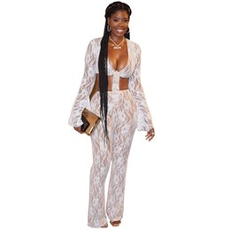 cea1fff6ea00 White Floral Lace Women Two Piece Set Front Tie Bow Sexy V Neck Bell Sleeve  Crop Top Flare Pants Club Party Suit Outfits