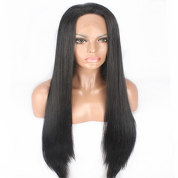 Discount silky straight long hair - Free Shipping Natural Black Long Silky Straight Wigs with Baby Hair Heat Resistant Glueless Synthetic Lace Front Wigs fo