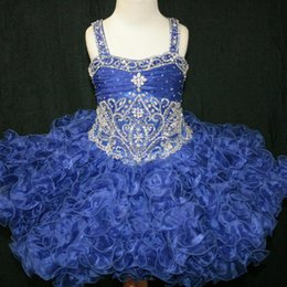 Cupcake Blue Australia - 2019 Toddler Pageant Dresses Ruffles Cupcake Kids Prom Gowns Crystal Beaded Blue Organza Formal Little Girls Birthday Party Dress