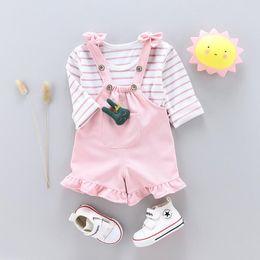 Toptan satış 2018 sonbahar yeni sevimli kayış çocuk üç parçalı takım elbise kız takım elbise