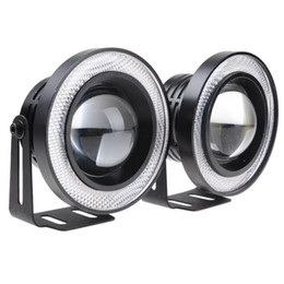 Wholesale 2Pcs Aluminum Car Fog lights Angel Eyes 64mm 76mm 89mm 30W COB LED DRL Driving Lights Fog Lamp Fog Light 12V Car Styling